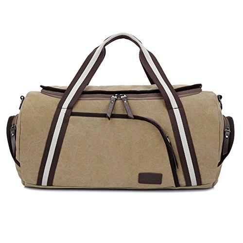Wewod ad alta capacità da viaggio weekend borsa a tracolla borsa tela resistente materiale stile vintage forma, Khaki (multicolore) - ST1315