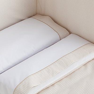 Sabanas 100% Algodón MINICUNA 50X80 - CUADROS color BEIGE (bajera+encimera+funda almohada)