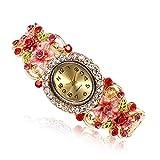 Frauen Runde Delicate Diamant Floral Case Armband Uhren EUZeo Damen Elegante Analog Quarzwerk Armbanduhr