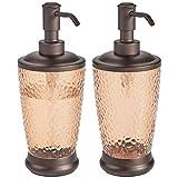mDesign Juego de 2 dispensadores de jabón Recargables - Dosificador para jabón de plástico y Metal - Elegante Accesorio de baño o Cocina para jabón, loción o aceites - Color Arena y Bronce