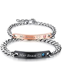 Yellow Chimes His Or Hers Matching Set His Beauty Her Beast Titanium Stainless Steel Couple Bracelet For Girls...