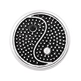 Black And Clear Rhinestone Snap Button Ying Yang Chunk Charm