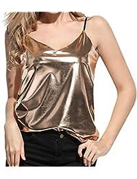 f2c4769cbf78 Bekleidung Longra❤ ❤ Damen Sparkle   Shine Glitzer-Pailletten Top Ärmellos  V-Ausschnitt Tank Top Frauen Wet Look Trägershirt-Weste…