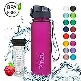 720°DGREE Trinkflasche 'uberBottle' - 500 ml, 0,5 l, Pink | Neuartige Tritan Wasser-Flasche | Water Bottle BPA Frei | Ideale Sportflasche für Kinder, Fitness, Fahrrad, Sport, Fussball