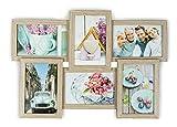levandeo Holz Bilderrahmen 43x30cm für 6 Fotos Format 10x15cm Glasscheiben in Farbe: Eiche gekälkt