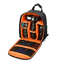 Goin Camera Backpack DSLR Hiking Camera Bag Waterproof for Canon, Nikon, Sony, Olympus, Samsung, Panasonic, Pentax Cameras???Black&orange-03???
