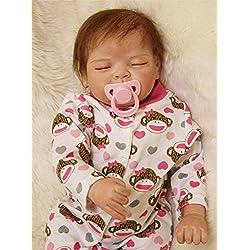 HRYEOY Muñecos Bebé Reborn Niña Realista Silicona Suave Recién Nacido Dormir 20 Inch 50cm Juguetes Newborn Doll