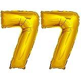 DekoRex® Folienballon Zahlenballon Luftballon Geburtstag Deko 80cm Zahl Gold 77