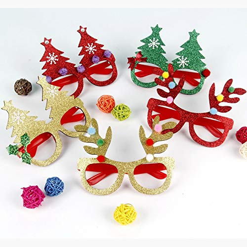 Yaoaomon Flashing Glasses Christmas Party Favors Light Up Shades Glasses for Kids Random Color Glitter 10pcs