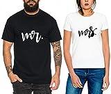 MR & MRS-Paar T-Shirt Matching-Geschenk für Sie und Ihn -Outfit Funny Oben (Schwarz+Weiß, MR-2XL+MRS-M)