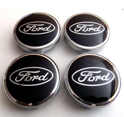 Satz von 4 60mm Auto Nabenkappen Nabendeckel Radkappen Emblem Badge Aufkleber Radkappen Center Cover schwarz (Ford Nabendeckel Embleme)