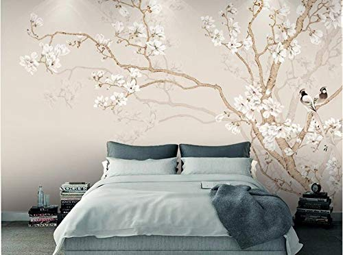 (Klassische Blume und Vogel Tapete Orchidee Wohnzimmer Sand TV Hintergrundbild Wandmalerei Nahtlose Film und Fernsehen Wandtuch, 430 × 280 cm)