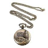ZREAL Vintage Pocket Watch Bronze Farbe Quarzuhr Coole Kette Big Ben Pattern Uhren