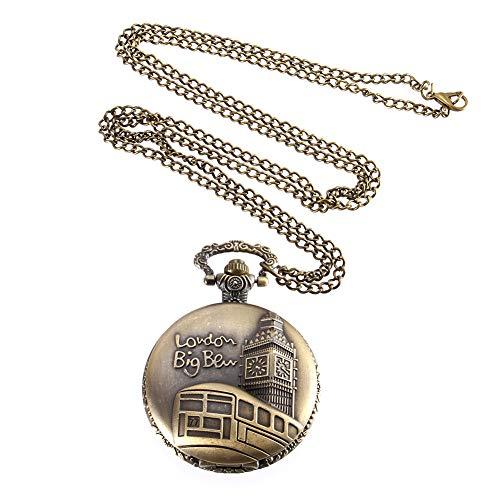 ZREAL Vintage Pocket Watch Color Bronce Cuarzo Reloj Modelos Cadena Big Ben Pattern Relojes