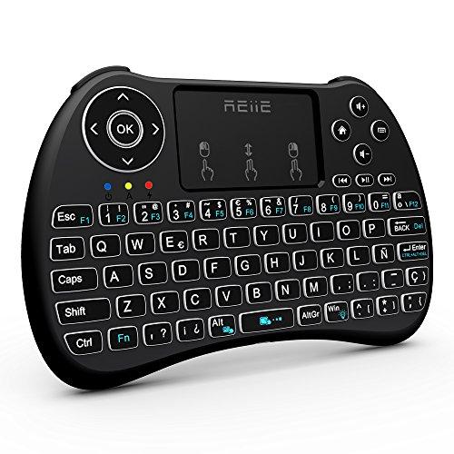 REIIE H9Plus Mini Touchpad Teclado Inalámbrico retroiluminado,Color Negro QWERTY(Tiene Ñ)