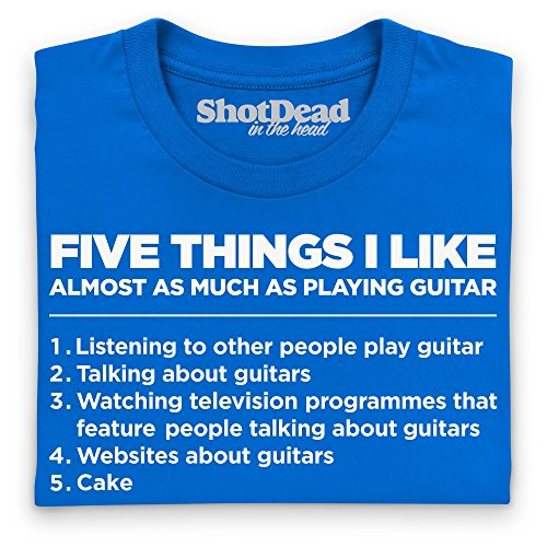 Five Things I Like - Playing Guitar T-Shirt, Herren Royalblau