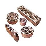 Royal Kraft Handgefertigt Gestalten Spiral und Zickzack Holz Drucken Blöcke (Set von 5)