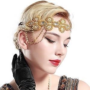 ArtiDeco 1920s Stirnband Flapper Haarband Kristall Stirnband Great Gatsby Halloween Motto Party Accessoires 1920s Flapper Charleston Zubehör
