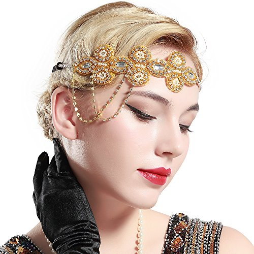ArtiDeco 1920s Stirnband Flapper Haarband Kristall Stirnband Great Gatsby Halloween Motto Party Accessoires 1920s Flapper Charleston Zubehör (Gold)