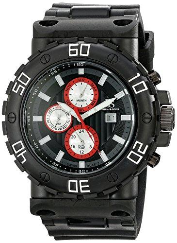 Joshua & Sons Homme Montre à quartz avec affichage analogique et bracelet en silicone noir cadran noir js89bkw