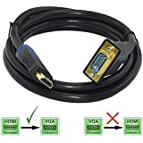 Pruthvik™ HDMI To VGA Converter Cable (4 Feet - 1.2m) Supporting Up To 1920 X 1080 (60Hz) - Works As Unidirectional HDMI To VGA Only