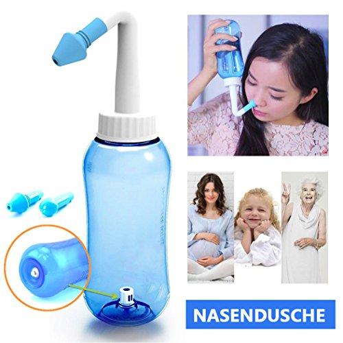 ONCCI 300ml Heuschnupfen Nasendusche Nasenspülung / Allergie / Trockener Nase Nasenreinigung Nase Spülen Mit Zwei Aufsätze für Kindern Und Erwachsene