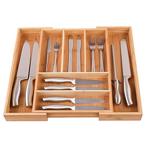 Homfa ( 2 Set Portaposate da Cassetto Cucina in bambù Naturale, Espandibile Vassoio Portaposate Ceppo Porta-Coltelli e Porta Utensili da Cucina (2)