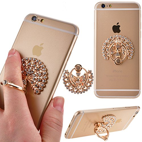 We Love Case Universal Aufkleber Ring Standplatz Pfau Handy Halter 360 Grad Drehbar Metall Push Ring Finger Grip Bunte Handy Ständer Halter Motiv Muster Halterung Handy Stent für iPhone, Samsung, Android, iPad, alle Smartphones & Tablets (Weiß)
