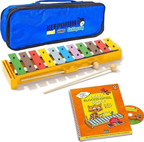 Sonor GS Glockenspiel + Lillis Glockenspiel Schule Lernbuch mit CD + KEEPDRUM Tasche