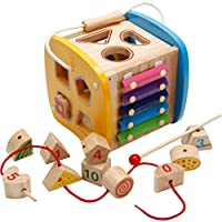 HB.YE 4 in 1 Shape Sorting Puzzle Wooden Box with Xylophone, Classic Wooden Activity Game Center for Fine Motor Skill, Preschool Early Education Toy Gift