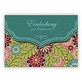 Edle Einladungskarte mit modernem Blumen Muster in grün für Mädchen: Einladung zur Konfirmation
