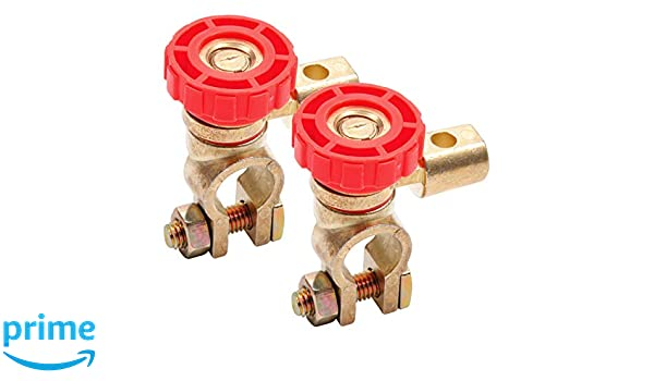 Batterieschalter Batteriehauptschalter Batterie Trennschalter Hauptstromschalter 12V 24V 360-Grad Drehbar Batterieklemme Batterieadapter Trenner Rot