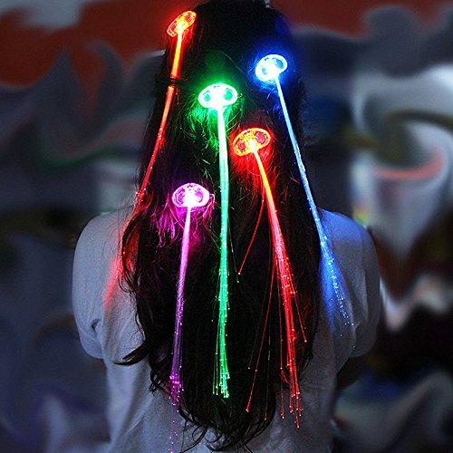 Wimpern Haarsträhnen Weihnachten Leuchtende Haar Led Haarschmuck Halloween LED Lichter Haarsträhnen Glühwürmchen Rainbow Party (Led Haar Zöpfe 7PCS) ()