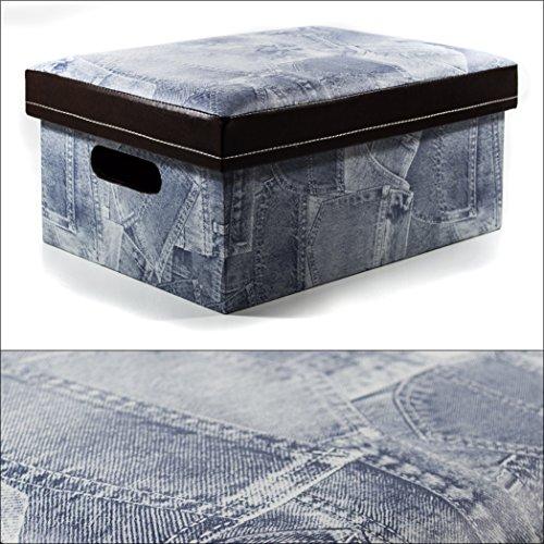 Hochwertige Aufbewahrungs- Box mit gepolstertem Deckel in Jeans-Optik, mit Sitzfunktion!! Maße: ca. 20 x 42 x 30 cm, Hochwertig, Elegante & Edle Allzweck- Kiste oder Hocker!
