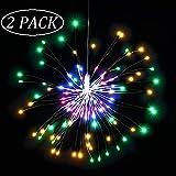 Qedertek Lichterkette Außen Batterie mit Fernbedienung, 120 LED Feuerwerk Lichterkette IP65 Wasserdichtmit, Blumenlicht Ideal für Weihnachten Dekoration, Garten, Terrasse,Hochzeit, Party (Bunt)