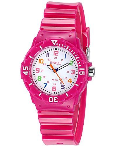 INWET Kinder Armbanduhr,Weiß Zifferblatt mit Bunt Nummern,Rose Armbanduhr für Mädchen