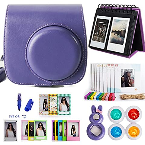 Woodmin 10-in-1 Accessori Bundle per Fujifilm Instax Mini 8 Camera viola(Mini 8 caso / album / Frames / Film Adesivi / filtri / Mark penna / Selfie-Lens)