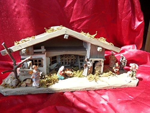 Arbrikadrex Verschiedene Weihnachtskrippen Holz Schreinerarbeit Douglasienholz Handarbeit Krippe mit und ohne Figuren Krippen-stall Weihnachten (Weihnachtskrippe, Greta mit Figuren)