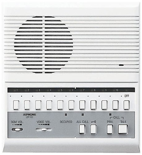 Aiphone LEF-10C Open Voice Selective Call Master Intercom with All-Call and Door-Release Buttons; Semi-Flush Mount; Accepts Up to 10 Connecting Door, Sub-Master, or Master Intercoms by Aiphone Aiphone Intercom