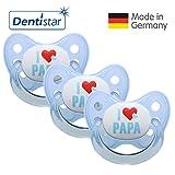 Dentistar Silikon Schnuller 3er Set - Beruhigungssauger, Nuckel Größe 1 von Geburt an, 0-6 Monate - zahnfreundlich & kiefergerecht | Blau I Love Papa