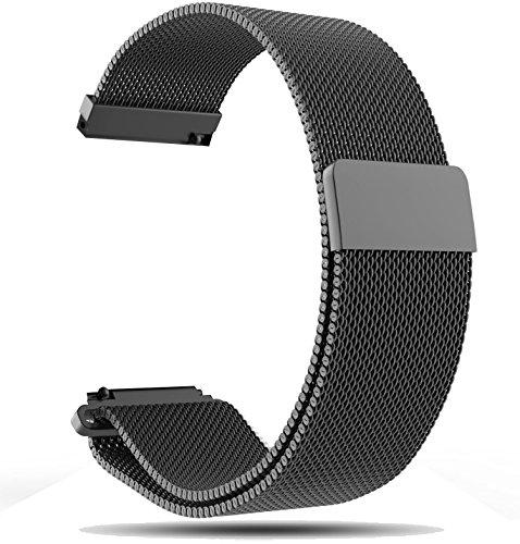 22mm Armband für Fossil Q Wander Gen 2 Smartwatch Tracker Milanaiseband schwarz