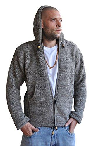 virblatt gefütterte Herren Wolljacke in M, L, XL Wollpullover mit Vlies Kapuzenjacke Hoody 100 % Naturwolle – Winterschlaf M (Praxis Sweatshirt Hoody)