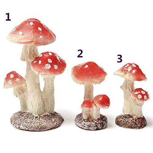 LACKINGONE 1* Mini Resina Fungo Fungo Piante Vaso Ornamenti da Giardino gnomi Decora 3_Heads