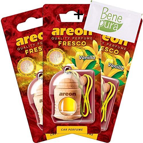 Areon, set di 3 deodoranti per auto da 4ml, fresco profumo di vaniglia, con diffusori da appendere e copertura in legno naturale, a lunga durat