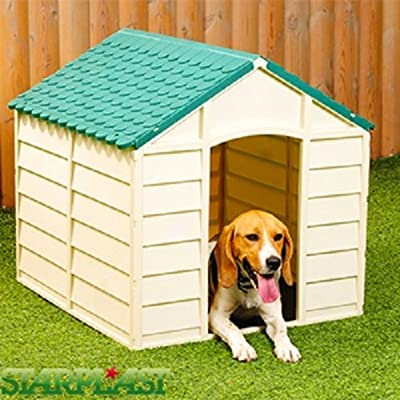 Outdoor Plastic Garden Dog Kennel Pet Shelter Dark Beige Weather Proof Starplast by Starplast