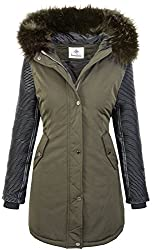 Rock Creek Damen Jacke Winter Parka Bikerjacke Winter Mantel Outdoorjacke Damenmantel Damenparka Kunstleder Ärmel Kunstpelz Kapuze D-347 Dunkelgrün M