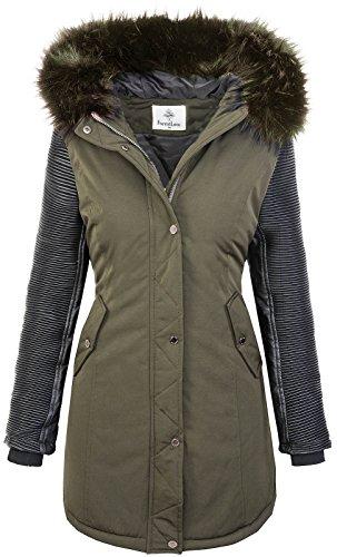 Giacca da donna inverno parka giacca da motociclista cappotto invernale giacca da esterno cappotto da donna parka cappuccio in pelle sintetica cappuccio in pelliccia sintetica d-347 verde scuro s