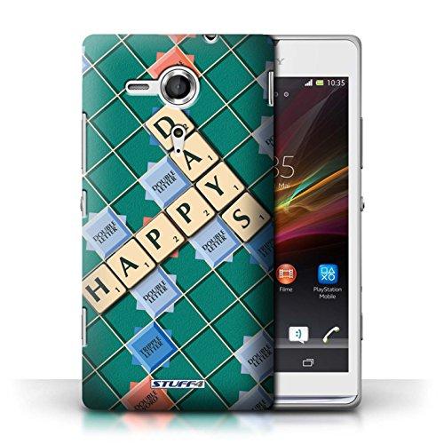 Kobalt® Imprimé Etui / Coque pour Sony Xperia SP/C5303 / Aucun Douleur Gain conception / Série Mots de Scrabble Jours Heureux