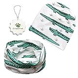 GingkoTree Babybekleidung Schals Niedliche Baby Kleinkind Kinder Cartoon drucken Hut Kappe Mütze + Schal Warp Set für 0-2 Jahre (Krokodil)