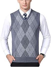 PengGengA Herren Pullunder Lässig Argyle Muster Business Stricken V-Ausschnitt  Weste Strickweste f9185bd350
